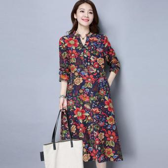 1621# Vintage Folk Style Women Cotton and Linen Printed Dress Plus Size Long-sleeved V-neck Dress Spring Dress Vestidos 2017 New - intl