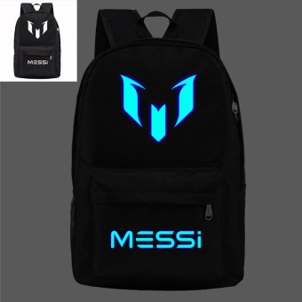 18.5inch Black Barca Backpack Lionel Messi Glow Backpack LuminousPrinting Backpack Star School Bags for Teenagers - intl Price Philippines