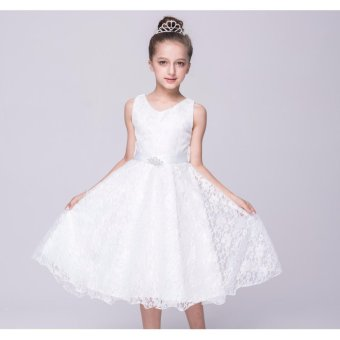 2-12 years old Pageant Flower Girl Dress Kids Birthday WeddingBridesmaid Gown Formal Dresses(white - intl