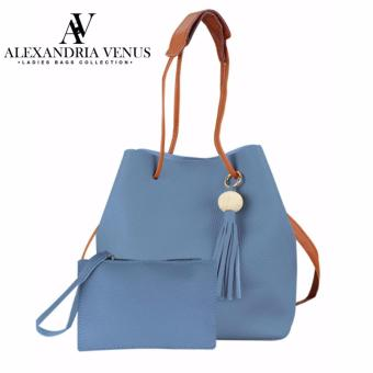2 in 1 Bag Pastel Color Korean Fashion Bag Shoulder Bag Tote Bagwith Pouch Synthetic Leather Casual Bag Set Alexandria