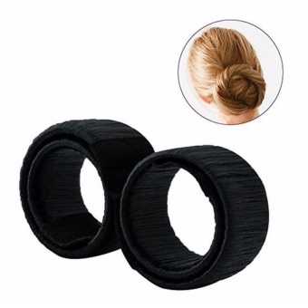 2 pcs Hair Styling Clip Magic Bun Maker Donut Hair Style Tools forWomen Girls Hair Accessories Black - intl