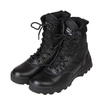 Tactical Army Mens Lace Up Shoes Sports Desert Ankle Boots Waterproof black - intl