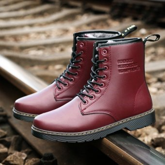 Waterproof Winter Warm Snow Men Boots Leather Ankle Martin High Cut Male Casual shoes Red - intl