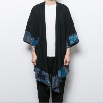 autumn retro chinese wind men's section wind and wind japanese crane embroidery small kimono cardigan  - intl