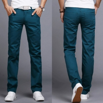 2017 Men Business Casual Slim Fit Pants Mid-Waist Solid TrousersFashion Mens Straight Cargo Pants Male Chino Lightweight -Lake Blue- intl Price Philippines