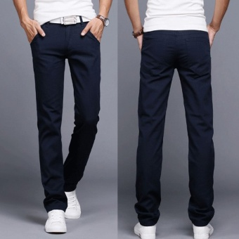 2017 Men Business Casual Slim Fit Pants Mid-Waist Solid TrousersFashion Mens Straight Cargo Pants Male Chino Lightweight -Navy Blue- intl Price Philippines