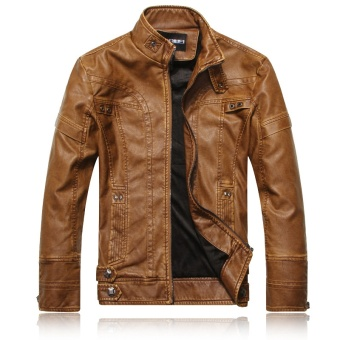 men's leather clothing European and American fashion Slim men's motorcycle PU leather jacket plus velvet jacket - intl