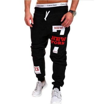 2017 Mens Pants Casual Pants Sweatpants Jogger Black Red - intl