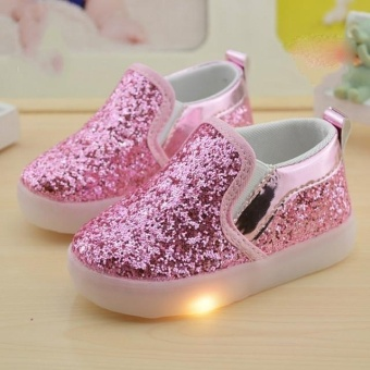 2017 New Baby Children Shoes Kids LED Flash Sneakers Spring AutumnGirls Fashion Sequin Sneakers (EU SIZE 21-30 / Pink) - intl - intl