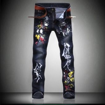 denim trousers Inkjet printing jeans for men skinny Distressed slim designer biker hip hop hole jeans male Straight pants - Navy Blue - intl