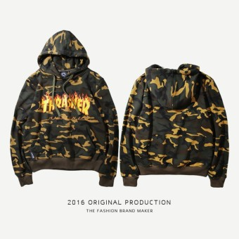 Thrasher Fashion Hoodies Flame Printing Sweatshirts Europe and America Cotton Terry Hoodie Good Quality - intl