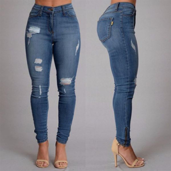 2017 sexy pencil pants woman female hole ripped denim jeans