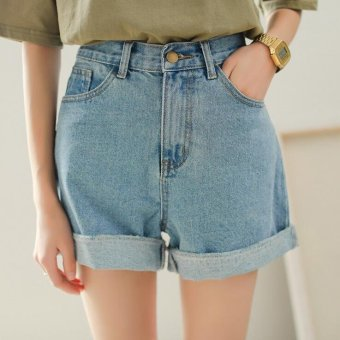 2017 Summer female high waist denim shorts crimping wide leg loose thin Women Short Jeans -Light blue - intl
