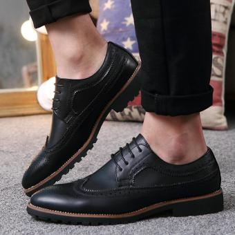 Vintage Leather Men Dress Shoes Business Formal Brogue Pointed Toe Carved Oxfords Wedding Shoes - intl
