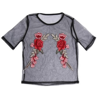 2017 Women Mesh Embroidery Floral See-through Crop Top T-ShirtBlouse (S) - Intl