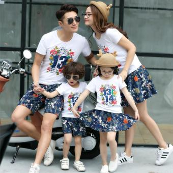 (2PCS/SET Dad)Summer Floral Outfit T-shirt+Short Pants Family LookMatching Clothes- intl