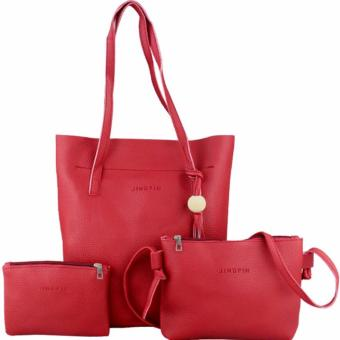 3 in 1 Jingpin Leather Shoulder Bag with Sling Bag and Pouch Set
