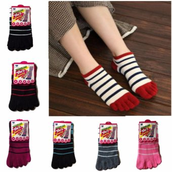 3pairs Five Toe Stripe Cotton Socks Finger Socks Breathable for Menand Women Random Color