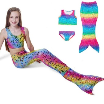 3Pcs Rainbow Mermaid Tail Swimsuit Set Girls Bikini Swimwear withMermaid Tail (110 Yard) - intl