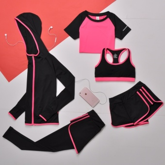 5 Piece Women Yoga Sets For Gym Running T-Shirt Tops & Sports Bra Vest & Shorts & Coat &Fitness Pants Workout Sports Suit Set (Pink) - intl