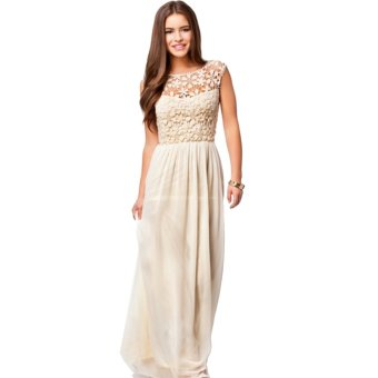 Acecharming Women Formal Long Lace Chiffon Backless Summer Evening Party Bridesmaid Dance Wedding Maxi Dress (Beige) - Intl