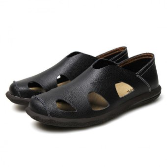 AD NK FASHION Men's Fashion Style Breathable LeatherSandals(Black)AK064 Price Philippines