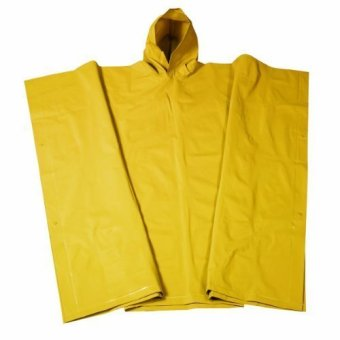 Adult 10 Mil Reusable Rain Wear Poncho Raincoat (Yellow)