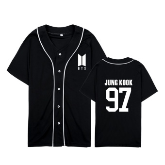 ALIPOP KPOP Korean Fashion BTS Bangtan Boys 2017 New Album LogoJUNG KOOK Cotton Cardigan Tshirt K-POP Button T Shirts T-shirtPT563 ( JUNGKOOK Black ) - intl