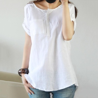 Amart Fashion Women Blouse Short Sleeves Loose Casual Tops - intl