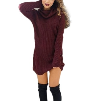 Amart Korean Fashion Women Turtleneck Sweater Pullovers DressKnitting Long Sleeve Loose Autumn Winter Dresses(Red) - intl