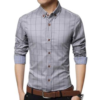 Amart Men's Long Sleeve Shirt Plaid Shirts Cotton Top Clothing(Grey)