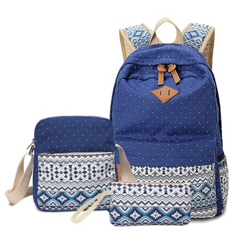 ANNS Fashion Canvas Women Backpack School bag For Teenagers Girls Back Pack School bags Bagpack Mochila ( 3 Pieces Bag Set ) (Blue) - intl