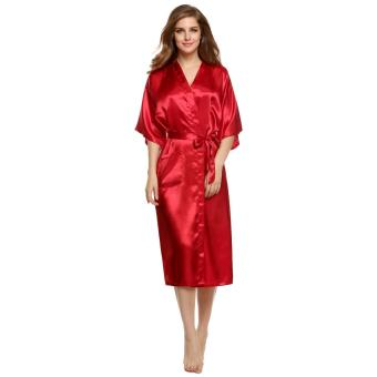 Astar Woman Silk Strappy Sleepwear Long Bath Robes Night GownPajamas (Red) Price Philippines