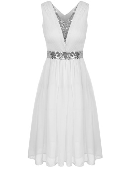 Astar Women V-Neck Sleeveless Sequins Patchwork Elastic WaistRuched Chiffon Dress ( White ) - intl Price Philippines