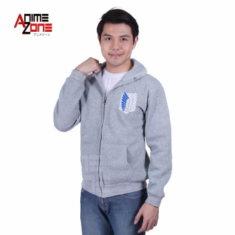 Attack On Titan Anime Unisex Zip-Up Hoodie Jacket (Light Grey) Price Philippines
