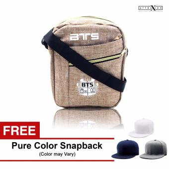 Attraxion BTS - 1722 Sling Crossbody Bag for Men (Cream) With Free Pure Color Cap (Color may vary) Price Philippines