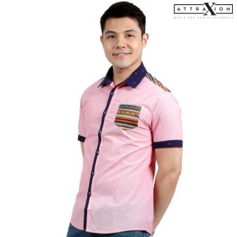 Attraxion Norman Bohemian Stripe Polo for Men (Pink)