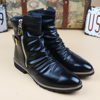 The British zipper tube men Dr Martens boots pointed toe leather boot 6512 black elevator