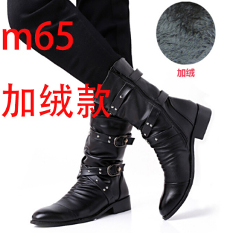 The British zipper tube men Dr Martens boots pointed toe leather boot M65 black Plus Velvet