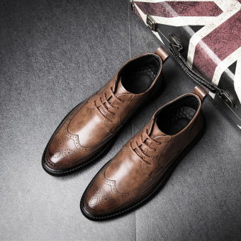 Winter British Men hight-top ankle boots Martin boots Light Brown Light Brown