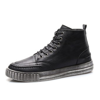 Winter England leather Waterproof shoes Men sneakers Black Black