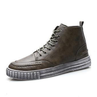 Winter England leather Waterproof shoes Men sneakers Green Green