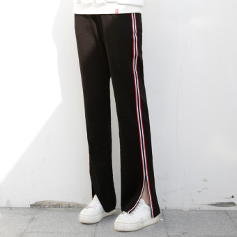Autumn and Winter casual female side striped straight pants wide leg pants