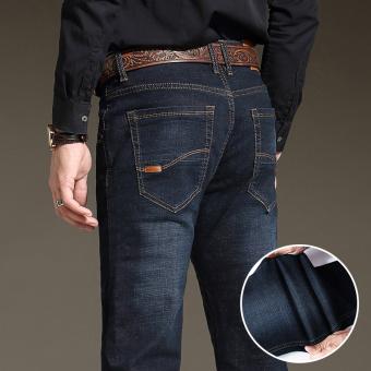 Winter men's casual slim straight elastic Pants for men Jeans Gun Color Gun Color