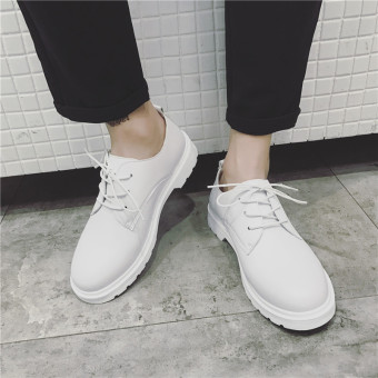 Winter Japanese-style Men Plus-sized round toe leather shoes Men's + White White Men's + White White