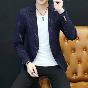 Winter Korean Plus velvet New style youth suit Mens jacket Dark blue color Dark blue color