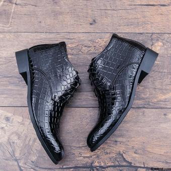Winter Men crocodile short boots hight-top leather shoes Black Black