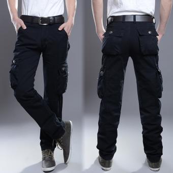 Winter Men straight long Pants pockets bib overall 2187 black 6 with pockets 2187 black 6 with pockets