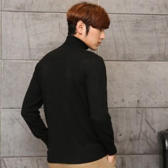 Winter thickened Plus-sized Men cardigan turtleneck cashmere sweater Black Black