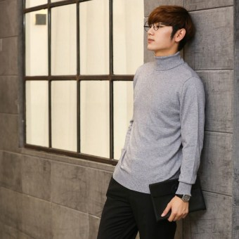 Winter thickened Plus-sized Men cardigan turtleneck cashmere sweater Light gray color Light gray color